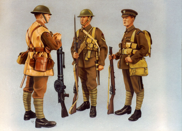 WWI British Uniforms; Airbrush Illustration by Les Still
